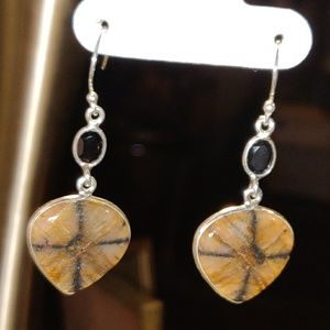 Jewelry - Natural Chiastolite Cross Stone & Onyx Earrings